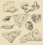 Conjunto de la pizza Imágenes de archivo libres de regalías