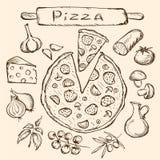 Conjunto de la pizza Foto de archivo