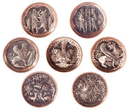 Conjunto de la placa de cobre decorativa persa. foto de archivo libre de regalías