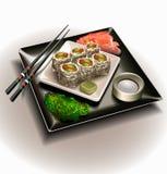 Conjunto de la placa del sushi Imágenes de archivo libres de regalías