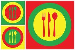 Conjunto de la placa y de la cuchillería Imagen de archivo