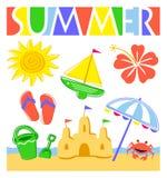 Conjunto de la playa del verano Fotos de archivo