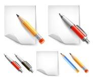 Conjunto de la pluma y del lápiz Fotografía de archivo libre de regalías