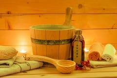 Conjunto de la sauna Fotos de archivo libres de regalías