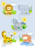 Conjunto de la selva de los animales de la historieta Imagenes de archivo