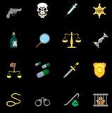 Conjunto de la serie de la ley, de la orden, de la policía y del icono del crimen Fotografía de archivo