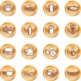 Conjunto de la serie del botón del icono del alimento Imagen de archivo libre de regalías