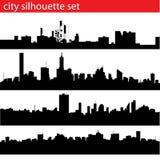 Conjunto de la silueta de la ciudad Imágenes de archivo libres de regalías