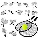 Conjunto de la silueta de la raqueta de tenis Imagenes de archivo