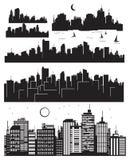Conjunto de la silueta de las ciudades del vector stock de ilustración