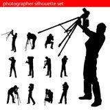 Conjunto de la silueta del fotógrafo Foto de archivo libre de regalías