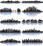 Conjunto de la silueta detallada de las ciudades ilustración del vector