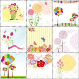 Conjunto de la tarjeta de felicitación colorida de la flor Fotos de archivo libres de regalías