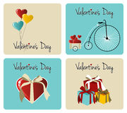 Conjunto de la tarjeta de felicitación del día de tarjetas del día de San Valentín Foto de archivo libre de regalías