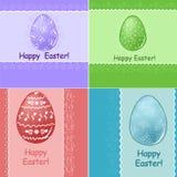 Conjunto de la tarjeta de felicitaciones de Pascua ilustración del vector