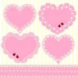 Conjunto de la tarjeta de la dimensión de una variable del corazón del marco de la flor Imagenes de archivo
