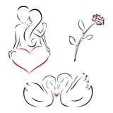 Conjunto de la tarjeta del día de San Valentín Foto de archivo libre de regalías