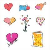 Conjunto de la tarjeta del día de San Valentín   Imágenes de archivo libres de regalías