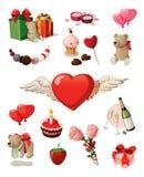 Conjunto de la tarjeta del día de San Valentín Imagen de archivo