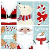 Conjunto de la tarjeta de Navidad stock de ilustración