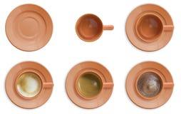Conjunto de la taza de café Imagen de archivo libre de regalías