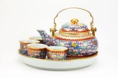 Conjunto de la taza de té Fotografía de archivo