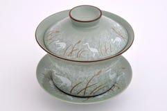 Conjunto de la taza de té de la pintura del estilo chino Fotografía de archivo libre de regalías