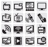 Conjunto de la tecnología de la TV Fotos de archivo libres de regalías