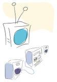 Conjunto de la televisión y del audio. Imagen de archivo