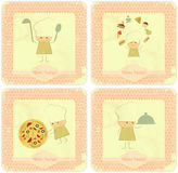 Conjunto de la vendimia de diseños de tarjeta del menú con los cocineros Imagenes de archivo