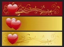 Conjunto de las banderas del día de los valentin Fotos de archivo