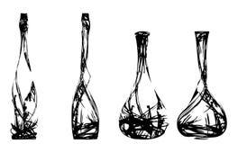 Conjunto de las botellas estilizadas Foto de archivo