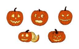 Conjunto de las calabazas para Víspera de Todos los Santos Caras divertidas Días de fiesta del otoño Vector imágenes de archivo libres de regalías