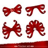 Conjunto de las cintas rojas para el diseño de la decoración Stock de ilustración