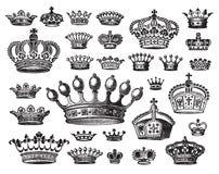 Conjunto de las coronas antiguas (vector) Foto de archivo
