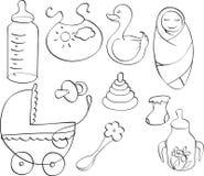 Conjunto de las cosas de diversos niños Imagenes de archivo