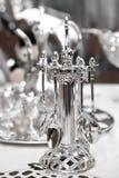conjunto de las cucharas de plata del té Imagen de archivo libre de regalías
