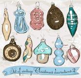 Conjunto de las decoraciones reales 2. de la Navidad del vintage. Imagen de archivo libre de regalías