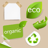 Conjunto de las escrituras de la etiqueta cómodas de Eco Imagen de archivo