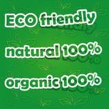 Conjunto de las escrituras de la etiqueta cómodas, naturales y orgánicas de Eco Imagen de archivo