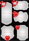 Conjunto de las etiquetas de la tarjeta del día de San Valentín decorativa del santo Fotografía de archivo libre de regalías