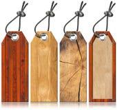 Conjunto de las etiquetas de madera - 4 items Imagenes de archivo