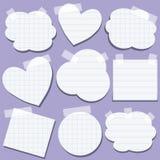 Conjunto de las etiquetas engomadas de papel con la cinta Imagen de archivo