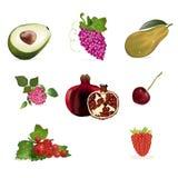 Conjunto de las frutas y de bayas Foto de archivo libre de regalías