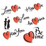 Conjunto de las letras de la mano de las tarjetas del día de San Valentín Foto de archivo