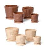 Conjunto de las macetas de cerámica para las plantas de interior Imágenes de archivo libres de regalías
