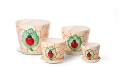 Conjunto de las macetas de cerámica para las plantas de interior Imagen de archivo