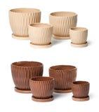 Conjunto de las macetas de cerámica para las plantas de interior Fotos de archivo libres de regalías