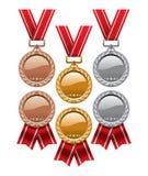 Conjunto de las medallas del oro, de plata y de bronce Fotos de archivo