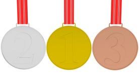 Conjunto de las medallas oro, plata y bronce Foto de archivo libre de regalías